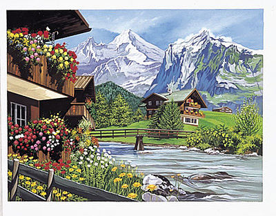 Colart Mountain Chalets Acrylic Paint by Number 11.5''x15.5'' -- Paint By Number Kit -- #15243