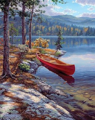 Colart Time Well Spent Canoe by River Acrylic Paint by Number 9''x12'' -- Paint By Number Kit -- #78026