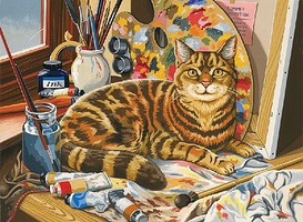 Colart Resting Cat Acrylic Paint by Number 11.5x15.5