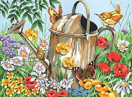 Colart Watering Can (Flowers & Butterfly) Acrylic Paint by Number 11.5x15.5 (Replaces #13157)