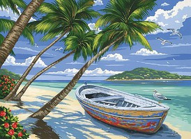 Colart Tropical Beach (Row Boat on Beach) Acrylic Paint by Number 11.5x15.5 (Replaces #85499)