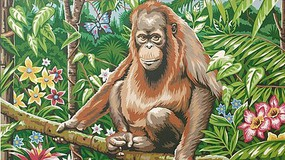 Colart Orangutan in Jungle (Flowers & Butterfly) Acrylic Paint by Number 11.5x15.5 (Replaces #85698)