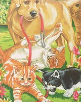Colart Dog & Kittens Acrylic Paint by Number 9x12 (Replaces #91226)