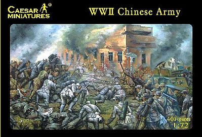 Caesar Miniatures Figures WWII Chinese Army (40) -- Plastic Model Military Figure -- 1/72 Scale -- #36