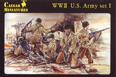 Caesar Miniatures Figures WWII US Army Set #1 (41) -- Plastic Model Military Figure -- 1/72 Scale -- #54