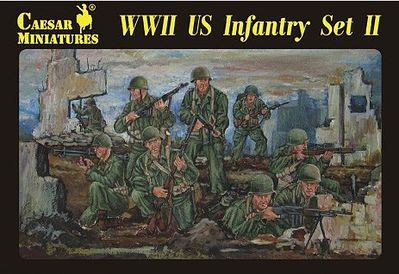 Caesar Miniatures Figures WWII US Infantry Set #2 (34) -- Plastic Model Military Figure -- 1/72 Scale -- #71