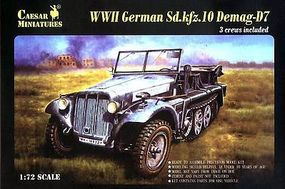 Caesar WWII German SdKfz 10 Demag D7 with 3 Crew Plastic Model Halftrack Kit 1/72 #7204