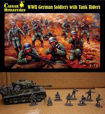 Caesar Miniatures Figures WWII German Soldiers with Tank Riders -- Plastic Model Military Figure -- 1/72 Scale -- #77