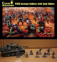 Caesar WWII German Soldiers with Tank Riders Plastic Model Military Figure 1/72 Scale #77
