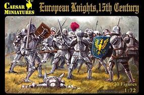 Caesar 15th Century European Knights (30) Plastic Model Military Figure 1/72 Scale #91