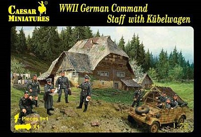 Caesar Miniatures Figures 1/72 WWII German Command Staff (9) w/Kubelwagen