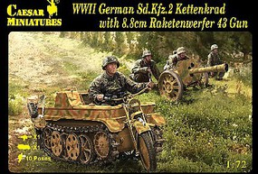 Caesar WWII German SdKfz 2 Kettenkrad Plastic Model Military Figure Kit 1/72 #96
