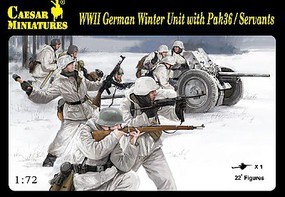 Caesar 1/72 WWII German Winter Unit Servants (22) w/Pak 36 Gun (Kit)