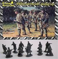 Caesar Battlefield WWII German Army with Camouflage Cape Plastic Model Military Figure 1/72 #hb4