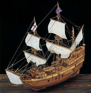 1/65 Mayflower 4-Masted England 1620 Sailing Ship w/plank-on frame  (Advanced)
