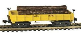 Mantua 1860 Log Car Wooden Vintage Freight Car D&RG HO