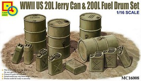 Classy 1/16 WWII US 20L Jerry Can & 200L Fuel Drum Set