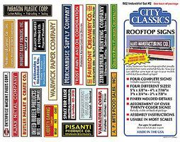 City-Classics Rooftop Industrial Signs Kit #2 HO Scale Model Railroad Building Accessory #802