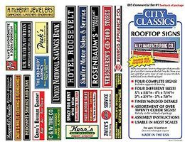 City-Classics Rooftop Signs Kit Commercial Signs #1 HO Scale Model Railroad Building Accessory #803