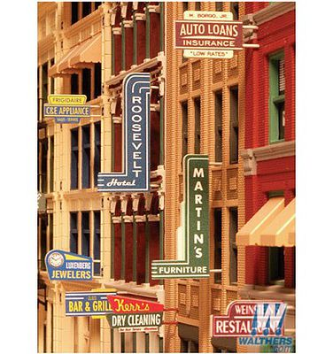 City-Classics Unpainted Storefront Sign Kit HO Scale Model Train Building Accessory #850