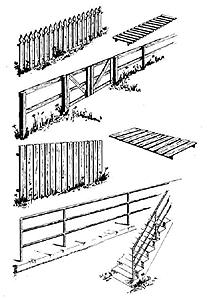 Central Valley Fences & Railings Set - HO-Scale (4) -- HO Scale Model Railroad Building Accessory -- #1601