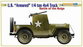 Cyber US Armored 1/4 Ton 4x4 Truck Battle/Bulge Plastic Model Armored Truck Kit 1/24 Scale #43247