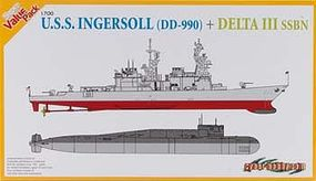Cyber USS Ingersoll (DD 990) vs Delta III SSBN Plastic Model Destroyer Kit 1/700 Scale #7114