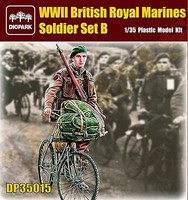 Diopark 1/35 WWII British Royal Marine Soldier Riding Bicycle w/Gear & Rifle