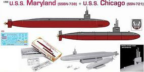DML USS Maryland & Chicago Submarines Plastic Model Military Ship 1/350 Scale #1047