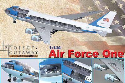 Dragon Models 747-400 Air Force One Airliner w/Cuta -- Plastic Model Airplane Kit -- 1/144 Scale -- #47010