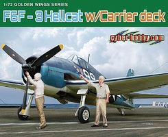 DML F6F3 Hellcat Fighter with Flight Deck Plastic Model Airplane Kit 1/72 Scale #5117
