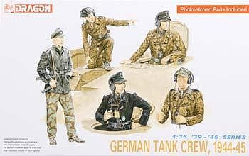 Dragon Models German Tank Crew 1944-45 (5) (Re-Issue) -- Plastic Model Military Figure -- 1/35 Scale -- #6014