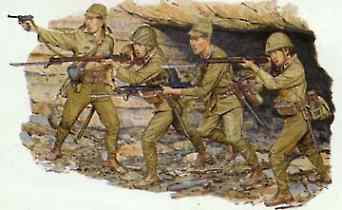 DML Japanese Army Infantry Iwo Jima 1945 (4) Plastic Model Military Figure Kit 1/35 Scale #6044