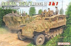 DML SdKfz 251/7 Ausf D PioneerPzWg (3 in 1) Plastic Model Military Vehicle Kit 1/35 Scale #6223