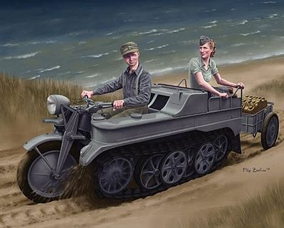 Dragon Models Sd.Kfz.2 Kettenkrad w/Infanteriekarren -- Plastic Model Military Vehicle Kit -- 1/35 Scale -- #6341