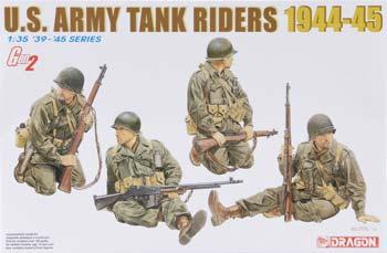 Dragon Models US Army Tank Riders 1944-45 4 Set -- Plastic Model Military Figure Kit -- 1/35 Scale -- #6378