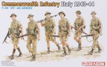 Dragon Models Commonwealth Infantry Italy '43 (6) -- Plastic Model Military Figure -- 1/35 Scale -- #6380