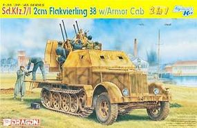 DML SdKfz 7/1 2cm FlaK 38 Gun w/Armor Cab (2 in 1) Plastic Model Halftrack Kit 1/35 Scale #6533