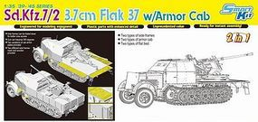 DML SdKfz 7/2 Halftrack w/3.7 Flak 37 Gun (2 in 1) Plastic Model Halftrack Kit 1/35 Scale #6542