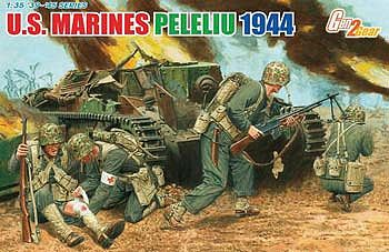 DML US Marines Peleliu 1944 (4 Figure Set) Plastic Model Military Figure 1/35 Scale #6554