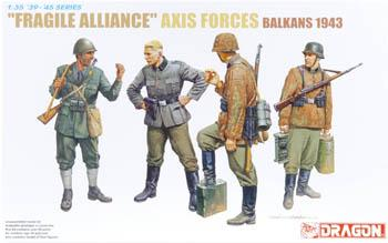 Dragon Models Fragile Alliance Axis Forces Balkan 1943 (4) -- Plastic Model Military Figure -- 1/35 Scale -- #6563