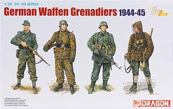 Dragon Models German Waffen Grenadiers 1944-45 (4) -- Plastic Model Military Figure Kit -- 1/35 Scale -- #6704