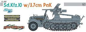 DML SdKfz 10 Halftrack w/3.7cm PaK Gun Plastic Model Halftrack Kit 1/35 Scale #6709