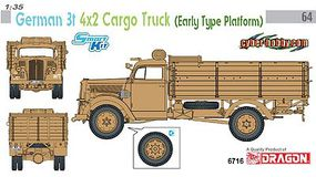 DML 1/35 German 3-Ton 4x2 Cargo Truck w/Early Type Platform (1-Time Production)