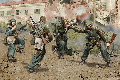 Dragon Models Italian Paratroopers Anzio 1944 (4 Fig Set) -- Plastic Model Military Figure -- 1/35 Scale -- #6741