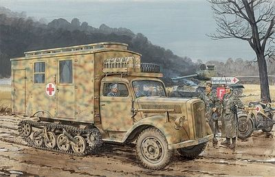 Dragon Models Sd.Kfz.3 Maultier Ambulance -- Plastic Model Military Ambulance Kit -- 1/35 Scale -- #6766