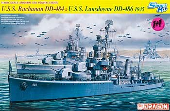 Dragon Models USS Buchanan DD-484/USS Landsdowne -- Plastic Model Destroyer Kit -- 1/700 Scale -- #7089