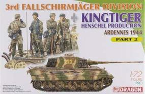 DML 3rd FJ Division German Paratrooper Figs with Kingtiger Plastic Model Kit 1/72 Scale #7362
