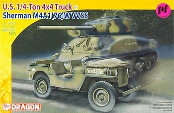 DML US 1/4-Ton Jeep & M4A1(76)W VVSS Tank Plastic Model Tank Kit 1/72 Scale #7412
