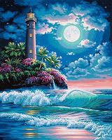 Lighthouse In Moonlight Paint By Number Kit #73-91424